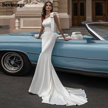 Мягкий Атлас Русалка свадебное платье бохо на одно плечо невесты