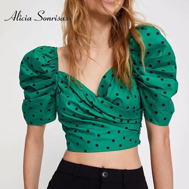 2020 Summer New Blouses Womens Long Sleeve Shirts Blusas Polka Dot Shirt Short Puff Sleeves Slim Blouse Women Crop Top