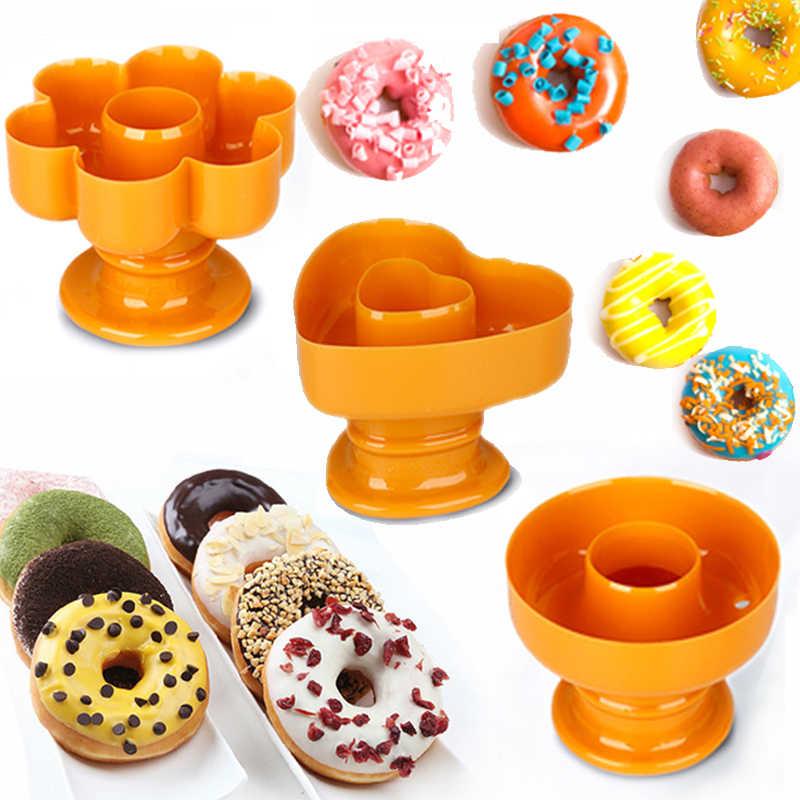 4 نوع البلاستيك دونات كعكة صانع قالب المنزل حفلة الحلويات القاطع فندان قطع لتقوم بها بنفسك دونات قالب المعجنات العجين عملية أدوات