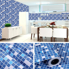 Waterproof Self-Adhesive Wallpaper Kitchen Oil-Proof Bathroom Toilet Wall Papers PVC Mosaic Imitation Tile Pattern Sticker Blue