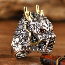 925 Sterling Silver Ring Thai Silver Powerful Dragon for Men Ring Jewelry Vintage Mens Rings Fine Jewelry silver jewelry antique thai silver ring red pomegranate jewelry exaggerated black ore ring wedding rings