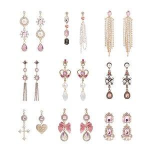 New Fashion Luxury Pink Shiny Rhinestone Long Bowknot Tassel Drop Earrings Korean Baroque Style Women Pendientes Jewelry