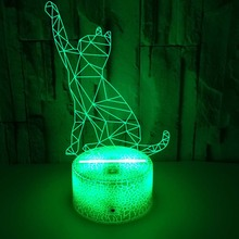 Animal 3d Lamp Illusion Night Light  7Color Changing Remote Contral  3d Luckly Cat Table Lamp Kids Gift Toys Office Home Decor