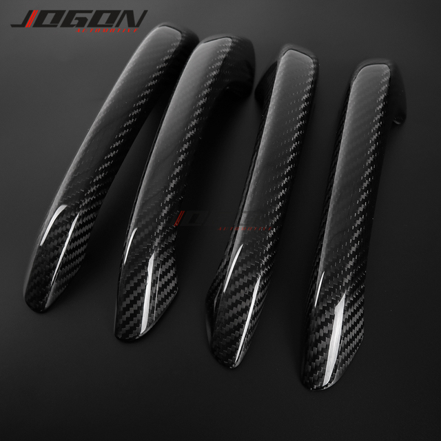 Real Carbon Fiber Exterior Door Handle Cover Sticker Trim For Porsche Macan S GTS Turbo 2015-2019 Without Smart Key Holes LHD 3