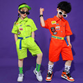 Girls Boys Jazz Modern Dancing Costumes Short Sleeve Jumpsuit Clothing Kids Hip Hop Dance wear Outfits Stage Coverall Clothes