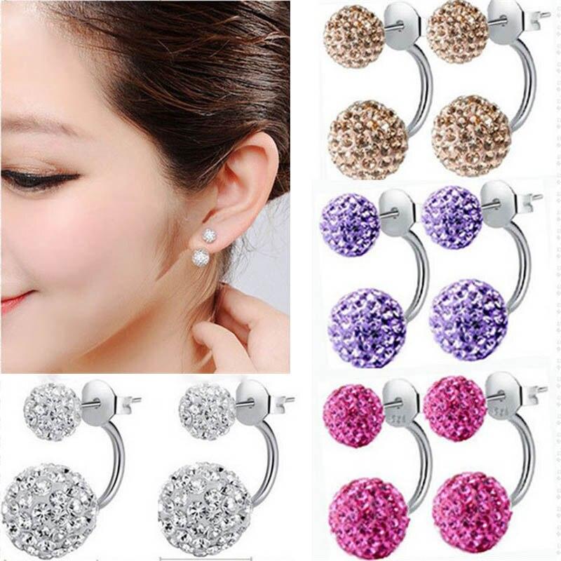 Women/'s Fashion 925 Sterling Silver Rhinestone Crystal Stud Hook Earrings Gift
