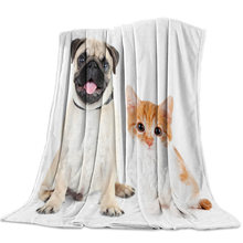 Personalized Blanket Home Textile Animal Bulldog And Cat Pet Flannel Weighted Blanket Warm Soft Throw Sofa Bed Travel Blankets(China)