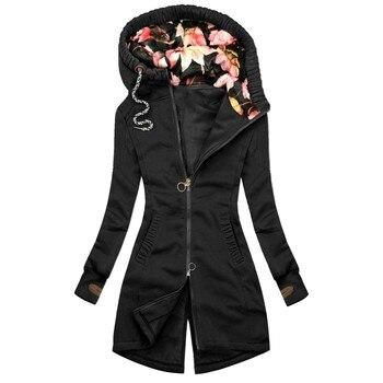 Women Thick Harajuku Sweatshirt Floral Print Jacket Hoodies Zipper Pocket Sweatshirt Long Sleeve Warm Soft Full Coat Ropa Mujer 1