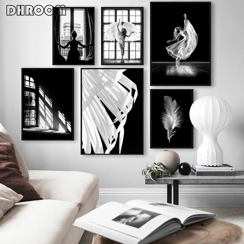 Хранитель постер с ангелом и принтом Ангел женщина белые крылья стены искусства белое перо холст живопись скандинавские украшения картины|Рисование и каллиграфия|   | АлиЭкспресс
