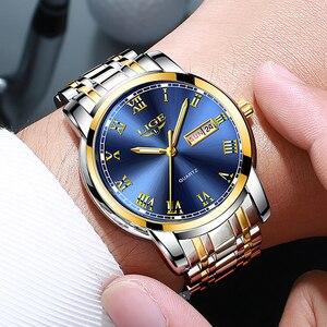 Image 5 - LIGE Watch Men Fashion Sports Quartz Full Steel Gold Business Mens Watches Top Brand Luxury Waterproof Watch Relogio Masculino