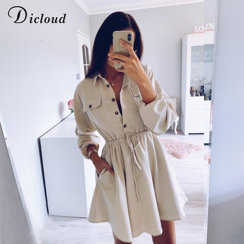 DICLOUD Beige Long Sleeve Mini Dress Women Autumn 2019 Cotton Linen Drawstring Waist Casual Minimalist Solid Shirt Dress Ladies