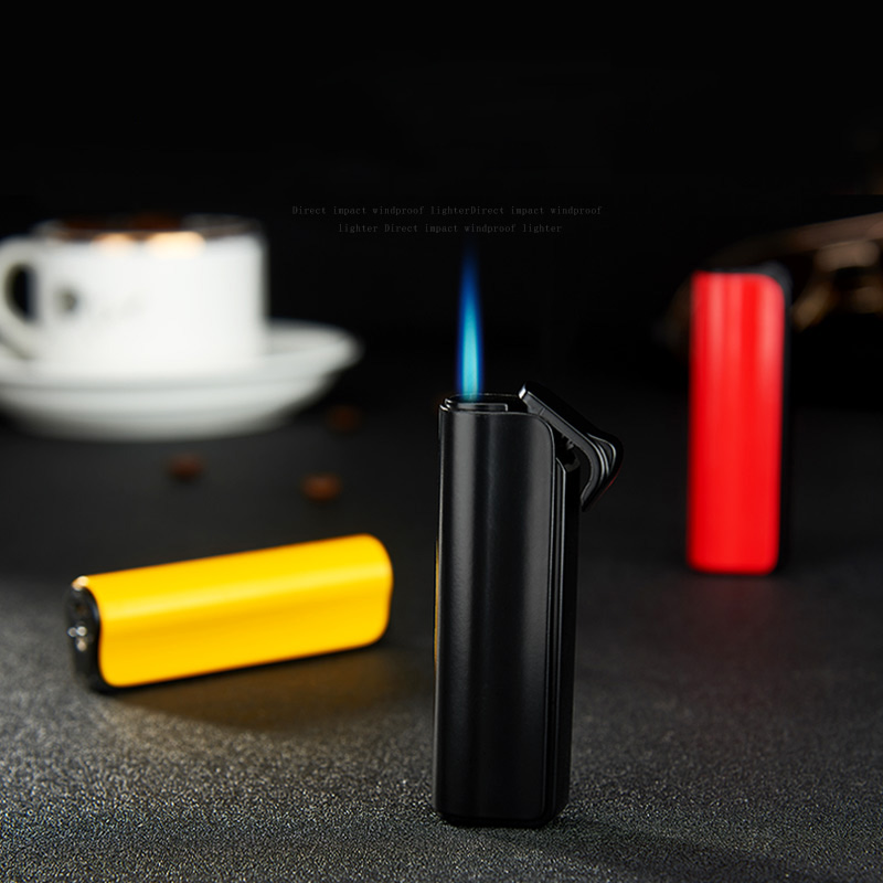 Semi-cylindrical Inflatable Straight Cigar Lighter Heavy Type Windproof Blue Flame Cigarette Accessories