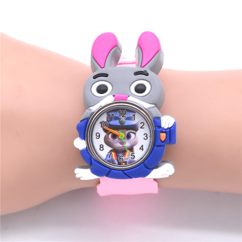 Cute 3D Rabbit Animal Watches For Kids Rubber  Slap Watch Children's Toy Quartz Watches Girls Boys Clock Reloj Relogio Montre