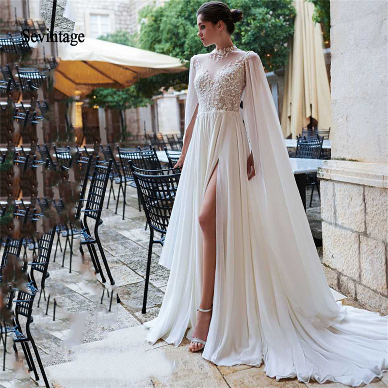 Sevintage High Neck Chiffon Boho Wedding Dresses Plus Size Beach Lace Bride Gowns With Watteau Train Backless Vestido De Noiva