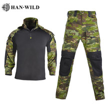 Han Wild Militaire Kleding Hood Tactical Uniformen Camouflage Airsoft T-shirt Paintball Cargo Broek Leger Combat Pak Met Pads(China)