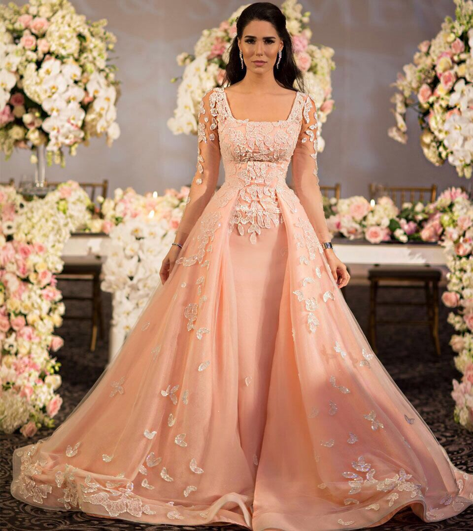 2018 Lace Long Sleeve Sexy Arabic 2018 Vintage Princess Beaded Bridal Gown Engagements Evening Prom Mother Of The Bride Dresses