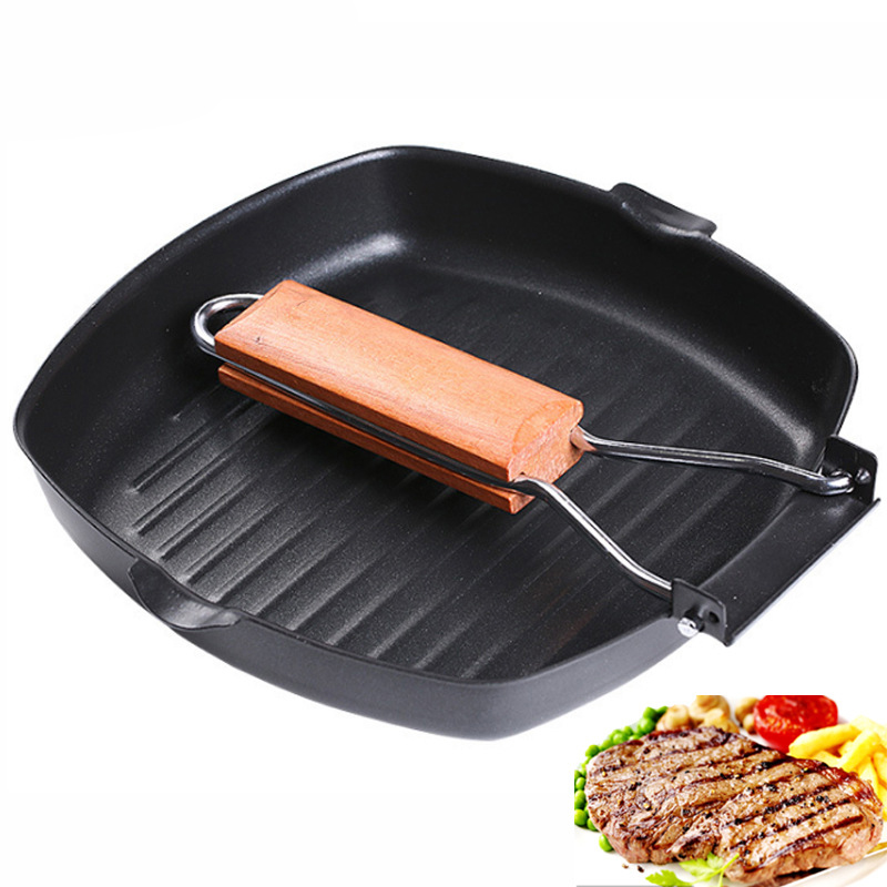 Pans Cast Iron Steak Grill Pans Non-Stick Frying Pan Wooden Handle Folding For Kitchen Fry Cooking Steak Pans Portable Square