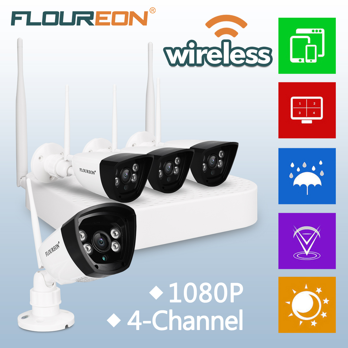 4CH Wireless CCTV 1080P DVR Kit Outdoor Wifi WLAN IP Camera Security NVR System