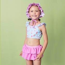 2019 г., милый весенний купальный костюм с юбкой-пузырьками для маленьких девочек, стильная купальная одежда с шапкой для плавания для