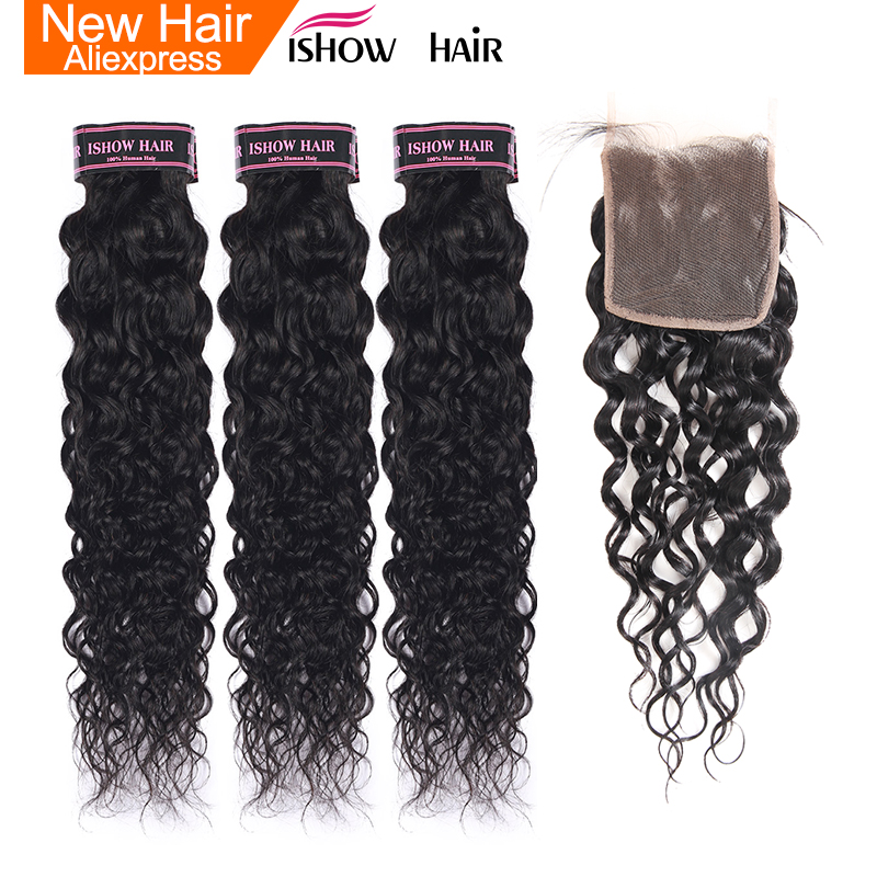 Ishow Malaysian Hair Water Wave Bundles With Closure 100% Human Hair Weave 3 Bundles With Closure Non Remy Hair Extensions