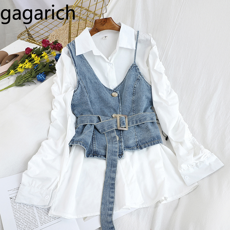 Gagarich Women Suits Chic Bandage Slim Waist Denim Sling Vest Solid Lapel Pleated Midi Long Blouse Ladies Casual Two Pieces Sets