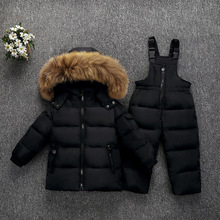 Olekid 30度ロシア冬子供服セットダウンジャケットコート + オーバーオールのための1 5年女の子防寒着