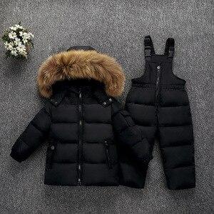 Image 1 - Olekid 30度ロシア冬子供服セットダウンジャケットコート + オーバーオールのための1 5年女の子防寒着