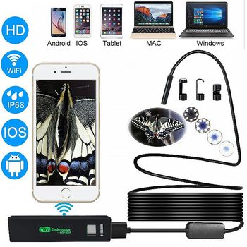 1080P Mini Camera WIFI IP68 Waterproof Endoscope Camera 8mm USB Endoscope Borescope Video Inspection IOS Endoscope For Iphone syanspan 9 wifi pipe inspection video camera drain sewer pipeline industrial endoscope support android ios 360 rotation 20 100m