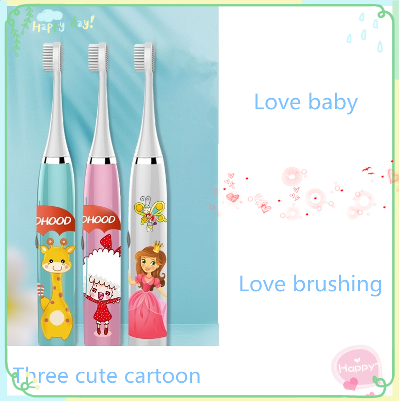 Dropshiping W9 Kids Electric Toothbrush Cartoon Pattern Double-sided Waterproof Tooth Brush Oral Cleaning for Kids Free shipping