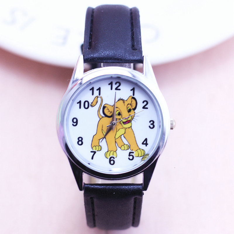 Fashion Women Boy Bracelet Watch Quarzt Clock Lion King Simba Leather Band Analog Quartz Wrist Kids Watch Children Watches