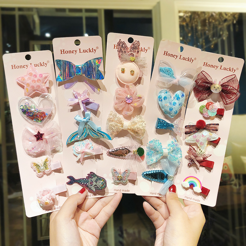 5pcs/set Cartoon Girls Cute Flower Bow Hairpins Children Lovely Headband Hair Ornament Barrette Kids Fashion Hair Accessories