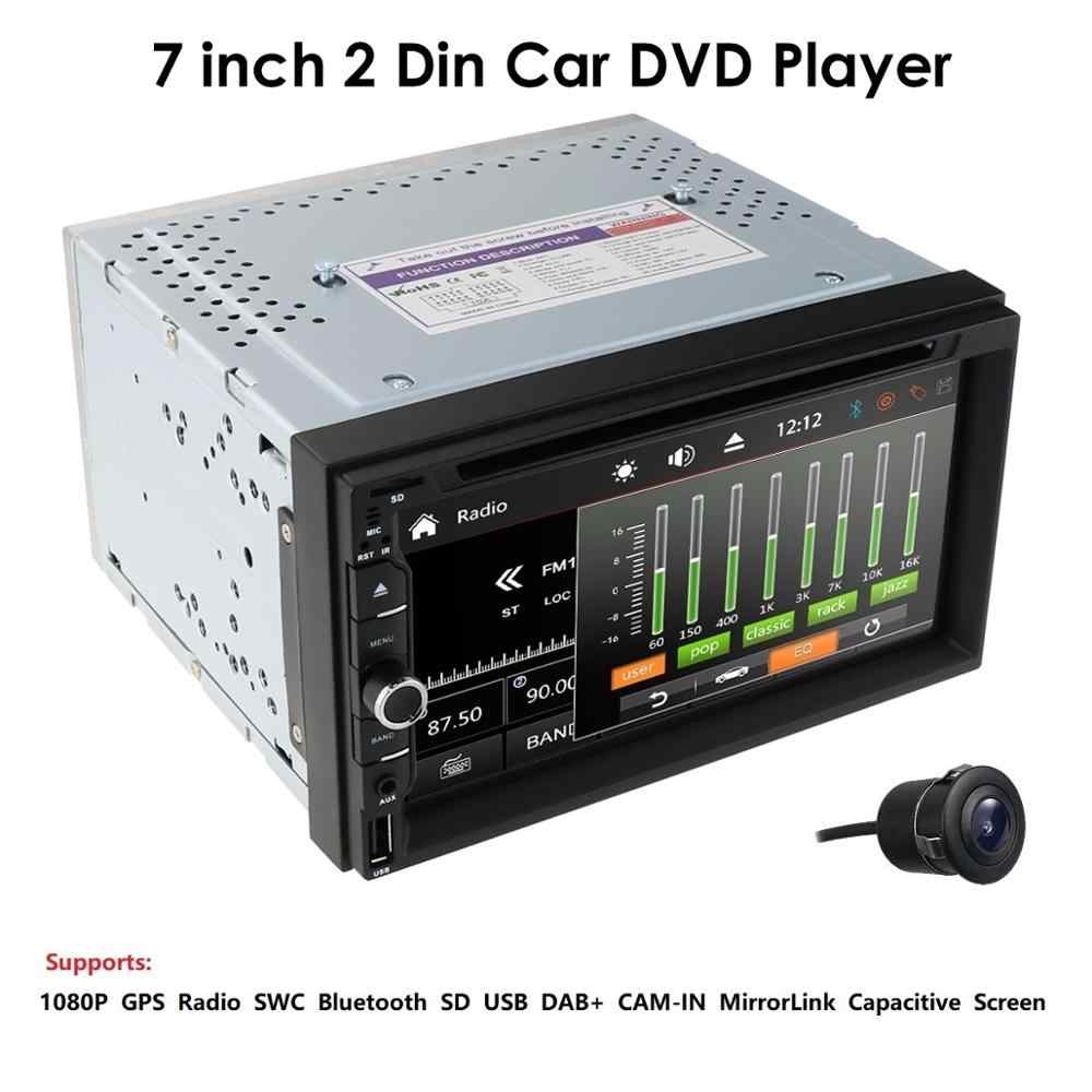 "Mobil Multimedia Player untuk Universal Hizpo 7 ""Car Stereo Radio Dvd Player Double 2Din Bt TV MP3 SWC Cermin link Audio AUX DAB Cam"
