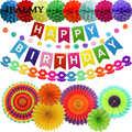 Ipalmay 10 lotes Rainbow Decorações Da Festa de Aniversário Colorido Pom Pom Flores de Papel Guirlanda De Papel Do Favo de mel Decorações De Aniversário