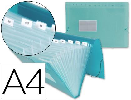 FOLDER LIDERPAPEL CLASSIFICATION BELLOWS 32113 Polyprophylene DIN A4 GREEN TRANSPARENT 13 DEPARTMENTS