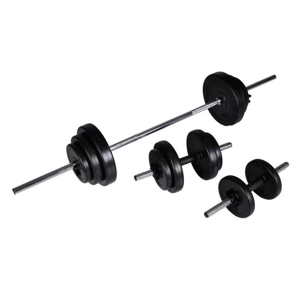 VidaXL 30.5kg Dumbbells Barbell + 2 Dumbbell Set Home Exercise Gym Dumbbells Body Building Sports Fitness Equipments