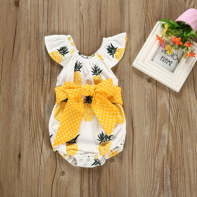 Imcute 0-18M Infant Newborn Baby Girl Romper Pineapple Print Romper Ruffle Fly Sleeve Bows Jumpsuit Outfits Clothes