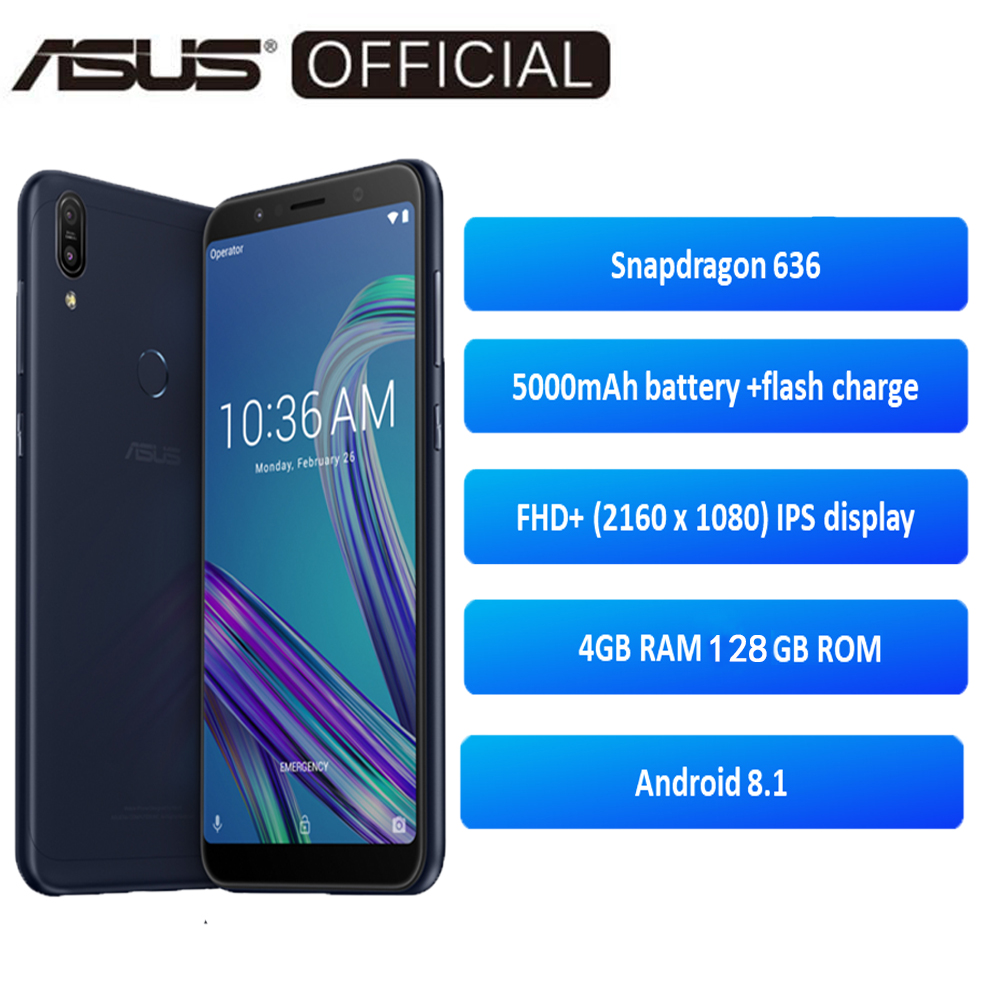 ASUS  ZenFone Max Pro (M1) ZB602KL 4GB RAM 64/128GB ROM SnapDragon 636 Android 8.1 18:9 FHD 5000mAh Global Version OTA Update