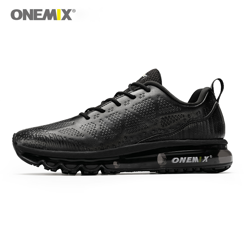ONEMIX Men Air Cushioning Running Shoes Leather Upper Runner Athletic Sneakers Outdoor Jogging Gym Fitness Running Shoes Max