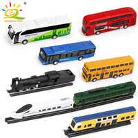4pcs/set Track Train High-speed Rail Metal Alloy School Bus Car Models Iron Horse Track Diecast Model Vehicle Toys For Children