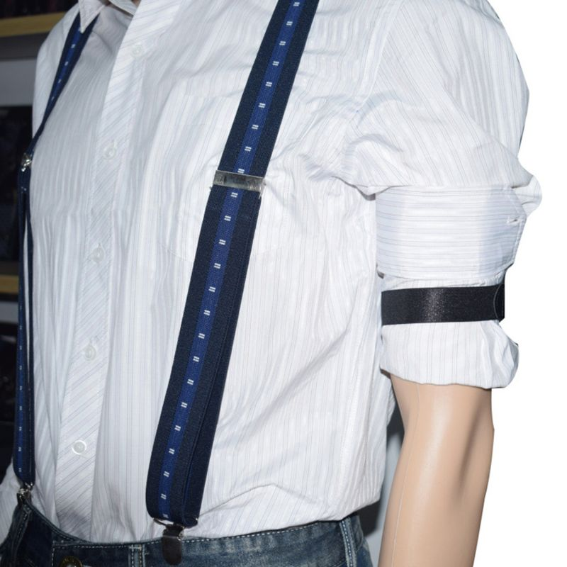 2pcs Mens Groom Shirt Sleeve Holder Metal Non-slip Strap Elastic Stretch Armband NEW