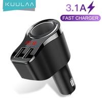 KUULAA Dual USB Caricabatteria Da Auto Digital Display Accendisigari 3.1A Veloce di Ricarica Adattatore di Caricabatteria Per Xiaomi iPhone PD Carica Auto