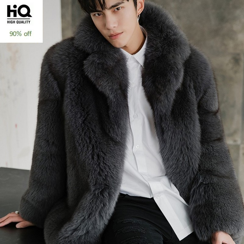 Luxury Fox Fur Coat Men Winter Fashion Solid Color Warm Real Fur Jacket Male Brand Long Sleeve Thick Casual Real Fur Outerwear