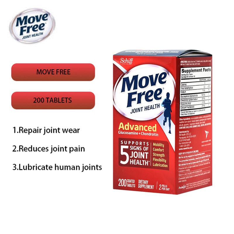 Movefree Healthy Glucosamine Chondroitin Daily Maintenance Red Bottle Relieve Arthritis Pain Repair Cartilage 200 Tablets