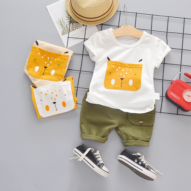Baby Boys Clothing Toddler Boy 2020 Cute Summer Casual Clothes Set Cartoon Dog Top Green Shorts Suits Kids Clothes 1-4 Years