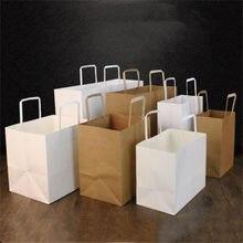 10 pçs comida takeaway saco de papel kraft sacos de presente de papel embalagem com alça biscoitos doces pão biscoito lanche pacote de cozimento