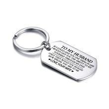 Vnox klasyczny breloczek do kluczy dla mężczyzn gładka powierzchnia nigdy nie znikną breloczek ze stali nierdzewnej do męża miłość wyrażenie personalizowany prezent