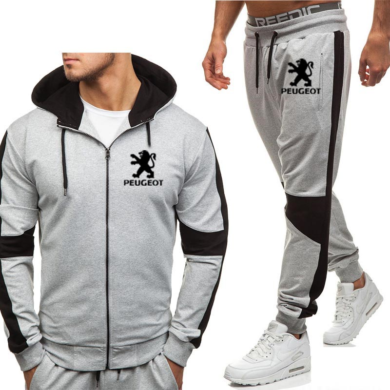 Hoodies Men Peugeot Car Logo Printed New Fashion Casual Harajuku Hooded Fleece Warm Zipper Jacket Sweatshirt Sweatpants Suit 2pc