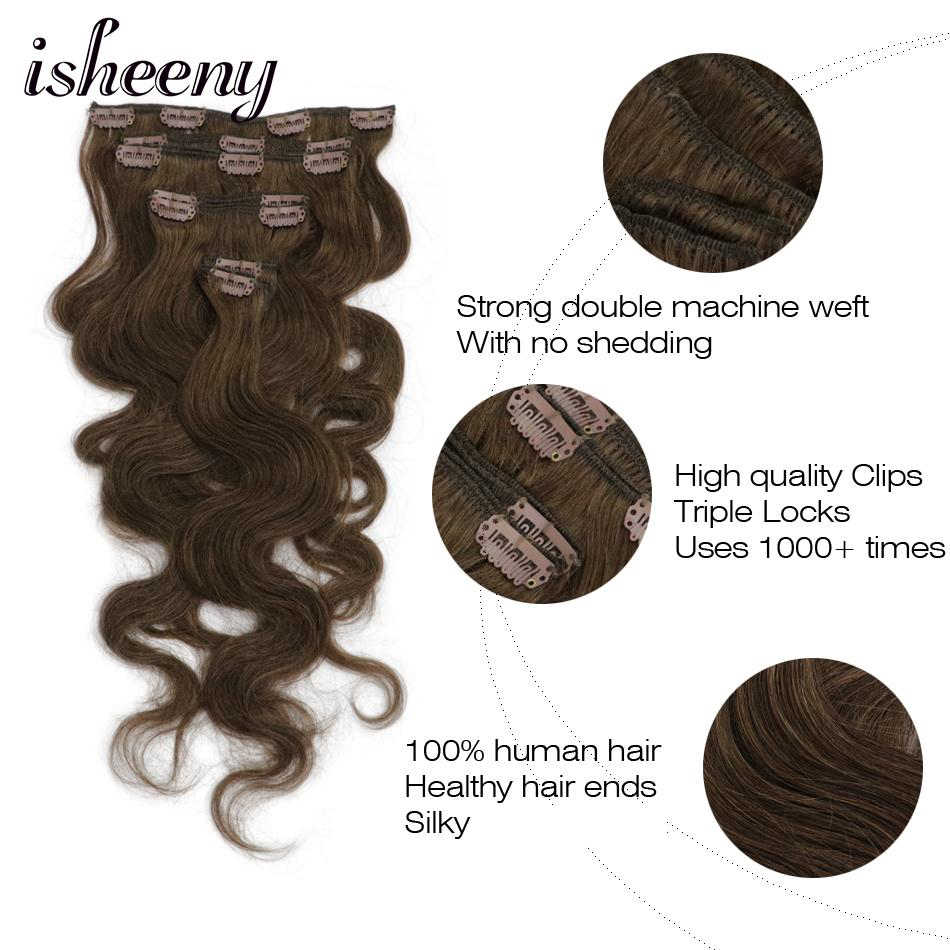 "Isheeny 14"" 16"" 18"" Remy Clip In Human Hair Extensions 7pcs/set Body Wavy Clip-in Full Head Black Brown Blonde"