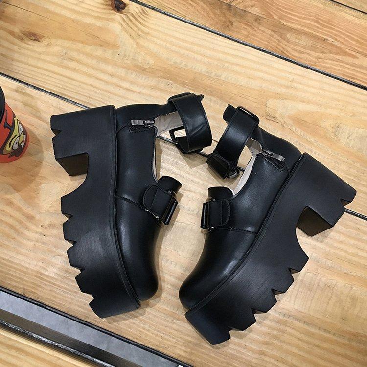 Lolita Gothic Round Head Mary Jane Shoes Japanese College Girl JK Uniform  PU Leatehr Platform Strap Waterproof Black Shoes 4