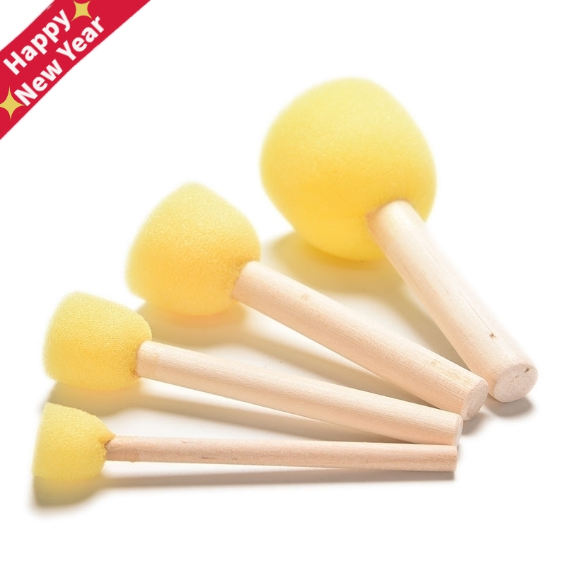 4Pcs/set Paint Brush Wooden Handle Seal Sponge Brush Children's Painting Tool DIY Wooden Sponge Yellow Paint Brush